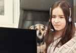 Online education. Webinar. A student at home is engaged in training, holds a dog in her arms, listens attentively and watches a lecture on a laptop with a microphone in headphones